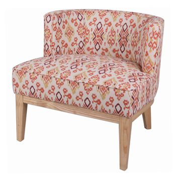 Galen Ikat Low Back Chair Natural Legs, Sundried Ikat