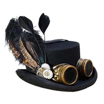 Black Victorian Steampunk Hat With Googles