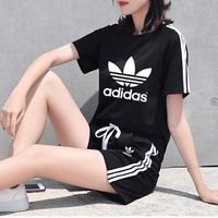 """Adidas"" Women Sports Casual Stripe Letter Print Round Neck Short Sleeve Shorts Set Two-Piece Sportswear"