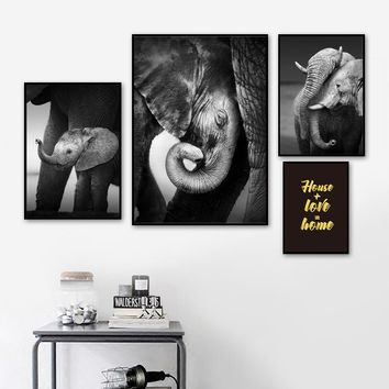 Baby Elephant With Mum Wall Art Canvas Painting Black White Photo Pop Art Posters And Prints Kids Wall Pictures For Living Room