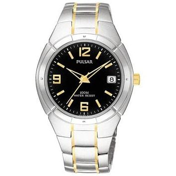 Pulsar Men's Day/Date - Watch - Stainless & Gold-tone - Black Face