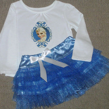 Frozen outfit - blue tulle ruffle diaper cover - toddler Elsa shirt - satin bloomers - baby sassy pants - 12m-18m