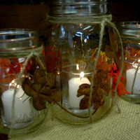 Rusty Fall Leaves Rustic set of 3 Mason Jars decorated with Rustic, Rusty Leaves