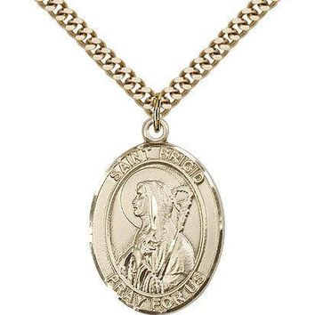 "Saint Brigid Of Ireland Medal For Men - Gold Filled Necklace On 24"" Chain - 3... 617759399875"