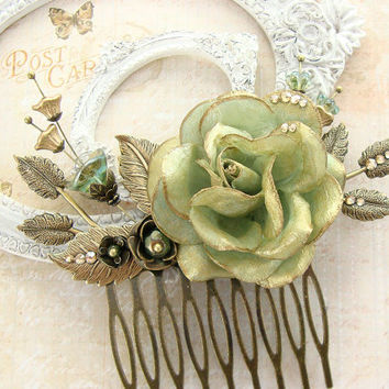 Ethereal Teal Flower Hair Comb - Hand Painted Swarovski Bronze Bridal Hair Accessories - Aqua Gold Woodland Fairy Wedding Vintage Style Comb