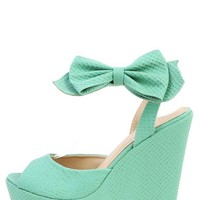 Rck Bella Wonda-2 Teal Snake Bow Tie Ankle Strap Platform Wedges and Shop Shoes at MakeMeChic.com