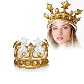 FLYDREAM Inflatable Crown Hats Creative Kids Birthday Party Hat Festival Birthdays Party Supplies King Queen Day Halloween Decor