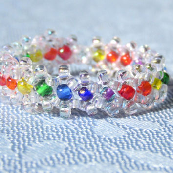 Beaded Ring, Stackable Band Ring, Bridesmaids Gift, Friendship Ring, Bridal Accessory, Rainbow Stacking Ring