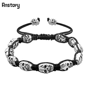 Smile Skull Skeleton Bead Bracelet Bangle Vintage Look Antique Silver Plated Handmade Rope Woven Fashion Jewelry B404