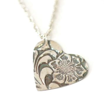 Stamped Southwestern Inspired Heart Pendant // Tooled Leather Style Pendant // Perfect Gift for Cowgirl