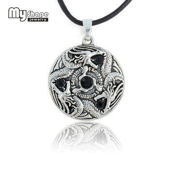 my shape Alloy Antique Silver Plated Dragon Claw  Round Shape Pendant Gothic Biker Animal Necklace Wax Cord for Women Jewelry