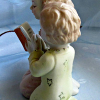Lefton Children Kneeling Praying Bedtime Hand Painted Bisque Porcelain Vintage