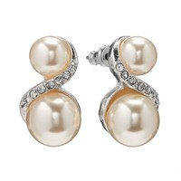 Croft & Barrow Silver Tone Simulated Pearl & Simulated Crystal Swirl Drop Earrings (Pearl/Silver)