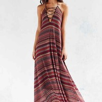 Ecote Flame Stitch Lace-Up Maxi Dress