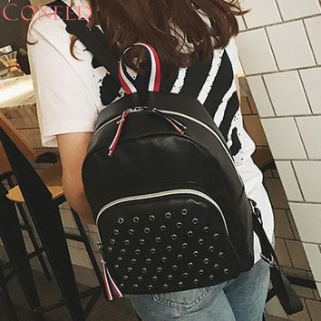 CONEED Women Leather Backpacks Schoolbags Travel Shoulder Bag Single Chain Backpack Juy13 38
