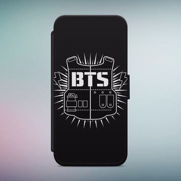 BANGTAN BOYS BTS LEATHER WALLET FLIP PHONE CASE COVER FOR IPHONE&SAMSUNG P98