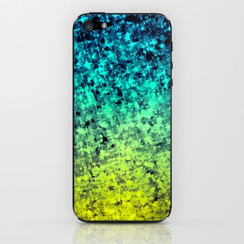 OMBRE LOVE Bold Beautiful Starry Night Glitter Abstract Painting Midnight Blue Mint Turquoise Yellow iPhone & iPod Skin by EbiEmporium