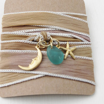 Driftwood Colored Dyed Silk Wrap Sea Glass Bracelet With Moon and Starfish