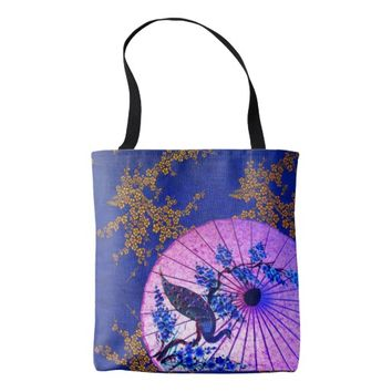 Oriental foral peacock parasol tote