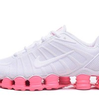 Most Popular Nike Shox TLX KPU White Pink Women's Running Shoes Sneakers