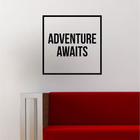 Adventure Awaits Simple Square Design Quote Travel Wanderlust Wall Decal Sticker Vinyl Art Home Decor Decoration