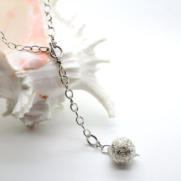 "Silver Plated Necklace - ""SURPRISE ME"", Elegant, Long Necklace, 2 ways to wear, Hollowed Ball Pendant, Jingle Bell, European Charm"