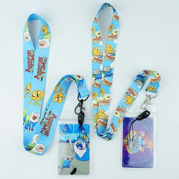 Cartoon Adventure Time Finn and Jake Neck Strap Lanyards ID Card Gym Mobile Phone Strap Badge Holder Rope Key Chain Gift Cute