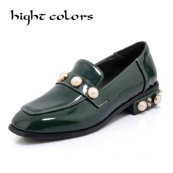 High Quality Women Oxfords Flats Shoes Patent Leather Rough With Pearl Slip-on Square Toe Low Heel Black Brogue Loafers Brand