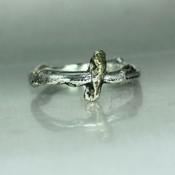 A gold Nugget Silver Mans Womans Twig Organic Ring Band
