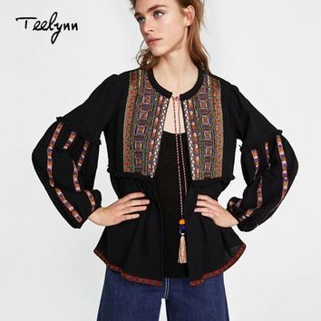 Trendy TEELYNN boho jacket 2018 autumn black Cotton ethnic geometric Embroidery loose puff long sleeve coats chic Women Coat Outerwear AT_94_13