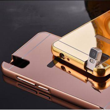 For Huawei Shot X Mirror Case Luxury Aluminum Metal Plating Frame Acrylic Back Cover Makeup Cases For Huawei Honor 7i ShotX
