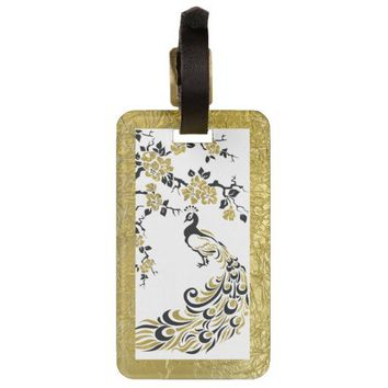 Black, faux gold foil peacock and cherry blossoms tags for luggage from Zazzle.com