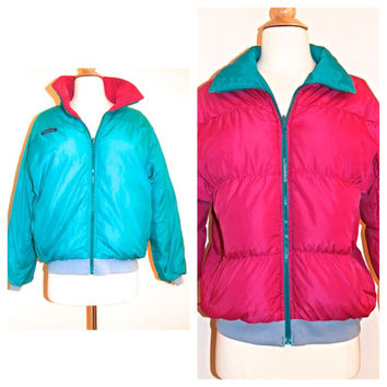 80s Vtg COLUMBIA Puffy Down Jacket . Reversible Teal Pink Ski Coat . Size M