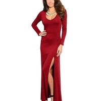 Wine Red Maxi Long Sleeve Side Slit Dress