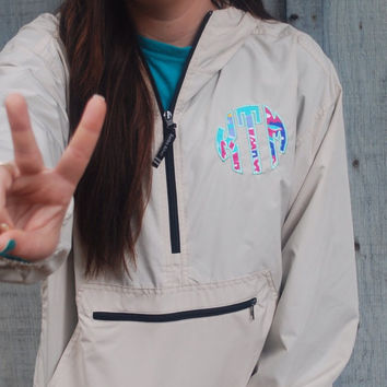 Lilly Pulitzer Monogrammed Pack N Go Pullover Unisex Jacket