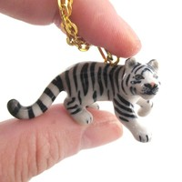 3D Porcelain Snow White Tiger Shaped Ceramic Pendant Necklace