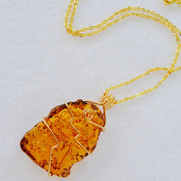 Amber necklace, amber resin, gold necklace, wire wrapped amber, Montana made, natural gemstone, Christmas gift, fall jewelry, OOAK pendant