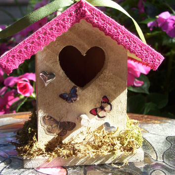 Hand Decorated WOODEN BIRDHOUSE Decorated in Pink and White Wash Painted with Flowers and Butterflies