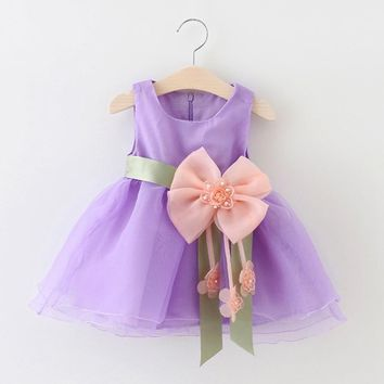 Summer Baby Girls Sleeveless Flower Bow Ball Gown Tutu Party Dress Kids Voile Princess Sundress vestidos roupas de bebe