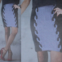 Vogue Cable skirt pencil skirt knitting pattern PDF Instant Download womans skirt knitting supplies epsteam knitting pattern cable sweater
