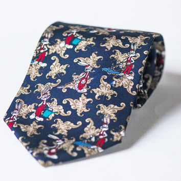 Looney Tunes Necktie Bugs Bunny - Warner Bros Cartoon Tie Navy Brown Silk - Novelty Necktie Bugs Bunny - Gift Men Fun Tie Navy Bunny Garden