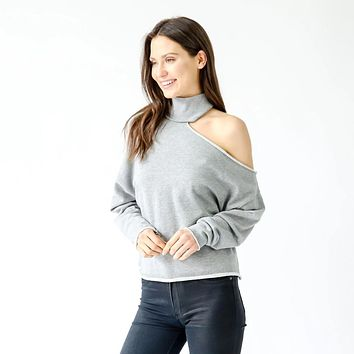 Open Shoulder Sweatshirt - Heather Grey