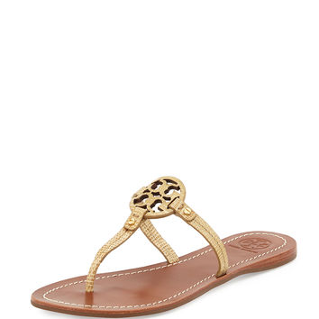 Mini Miller Snake-Embossed Flat Sandal, Trench Tan - Tory Burch - Trench tan
