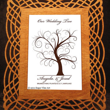 WEDDING TREE GUEST book, thumbprint tree, fingerprint guest tree, fingerprint tree guest book, Love Birds, Wedding tree 8x10 num. 102