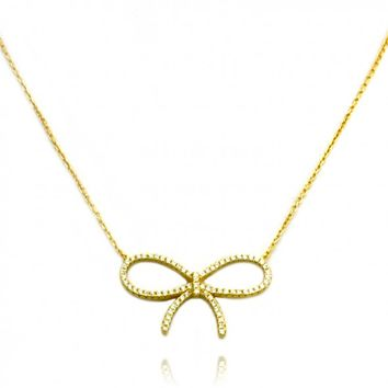 "TIONEER® Delicate Bow 18K Yellow Gold Plated Sterling Silver Necklace with 16""+2"" Extension Sterling Silver Chain"