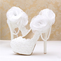 2016 new fashion white pearl lace flowers high heel Women shoes bridal shoes Women wedding shoes Women pumps