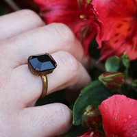 Size UK I (US 4 1/4) | Art Deco Style Ring | Onyx Ring | 60s Ring | Adjustable Ring | Black Ring | Goth Ring | Costume Ring | Vintage Ring