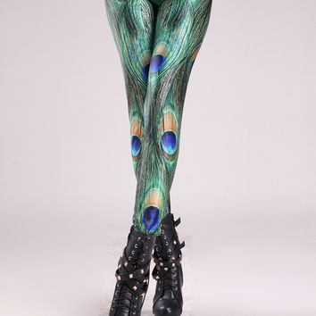 Peacock Feathers Digital Print Leggings