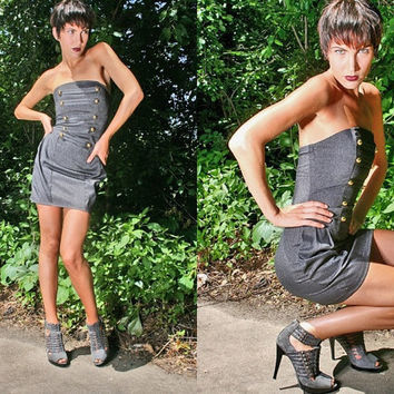 ON SALE 40% off / Last One // Military // Denim Corset Dress w/ side pockets