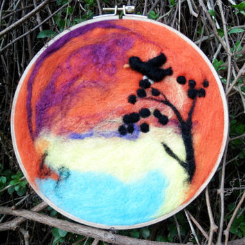 Felt Painting Felt Art Nature Landscaping Felted Wool Handmade Felt Needle with Round Wooden Frame Decorative Wall Decor Hanger Hanging